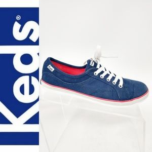 Keds Size 7.5 Navy Blue Red Trim Canvas Sneakers